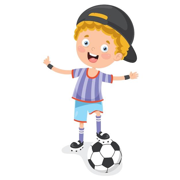 Маленький ребенок играет в футбол на открытом воздухе Premium векторы