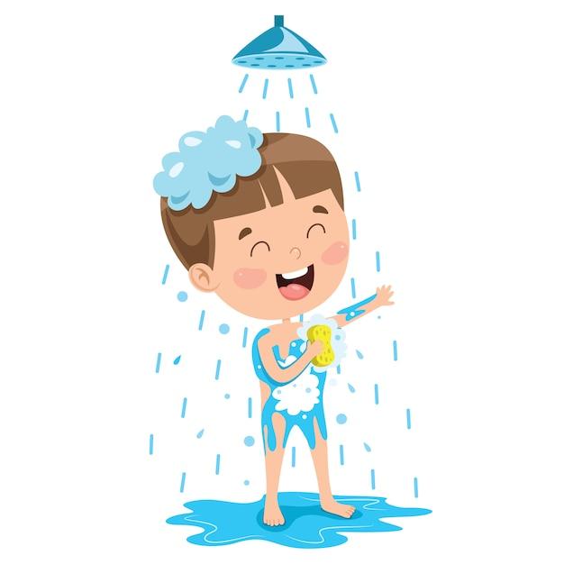 Забавный маленький ребенок с ванной Premium векторы