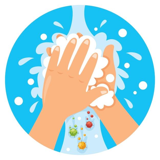 毎日のパーソナルケアのために手を洗う Premiumベクター
