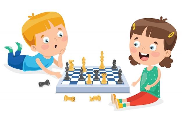 漫画のキャラクターがチェスのゲームをプレイ Premiumベクター