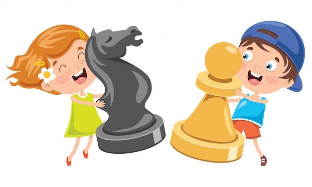 Мультипликационный персонаж играет в шахматы Premium векторы