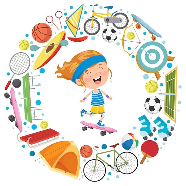 Маленький ребенок и спортивное оборудование Premium векторы