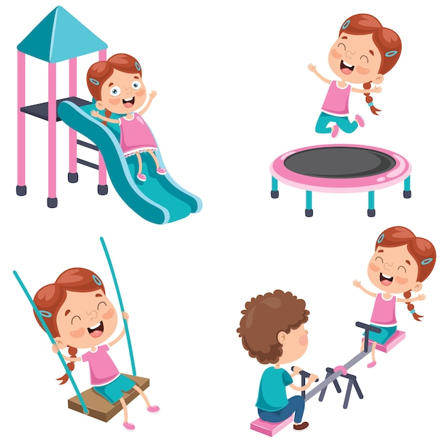 Маленькая девочка играет в парке Premium векторы