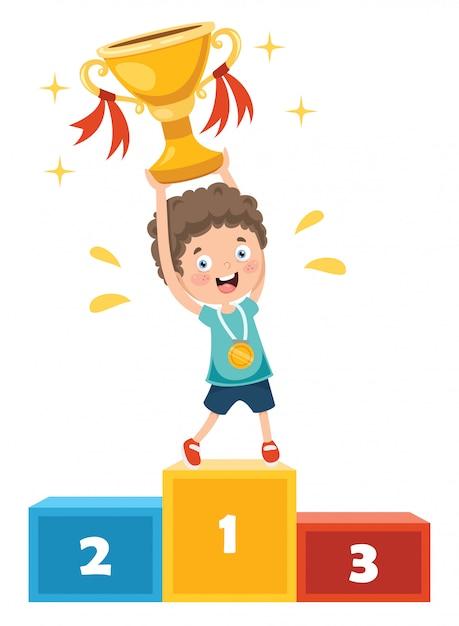 Маленький ребенок празднует победу в чемпионате Premium векторы