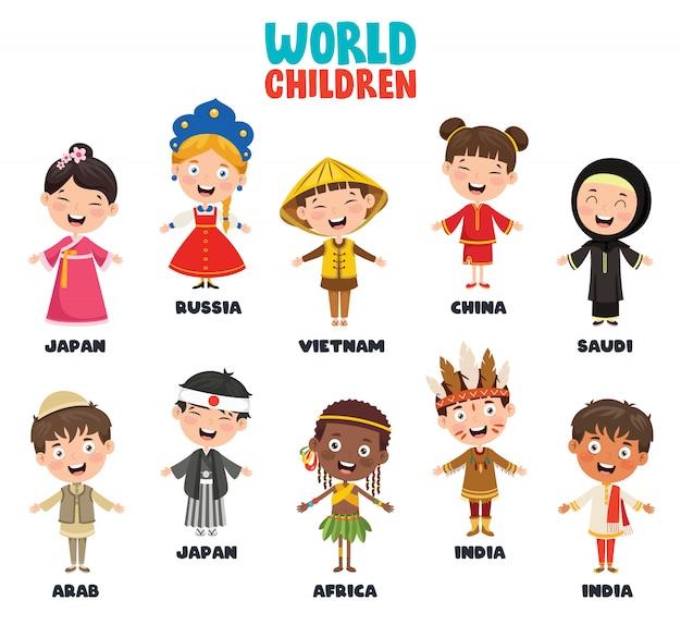 世界の多文化キャラクター Premiumベクター