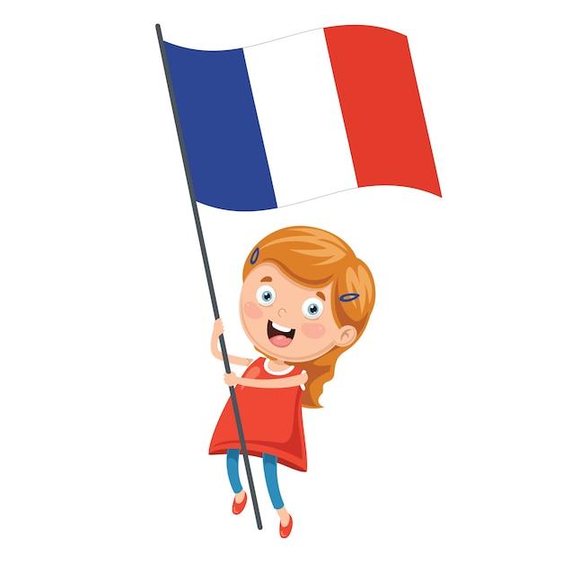 フランスの国旗を収めたキッドのイラスト ベクター画像 プレミアム