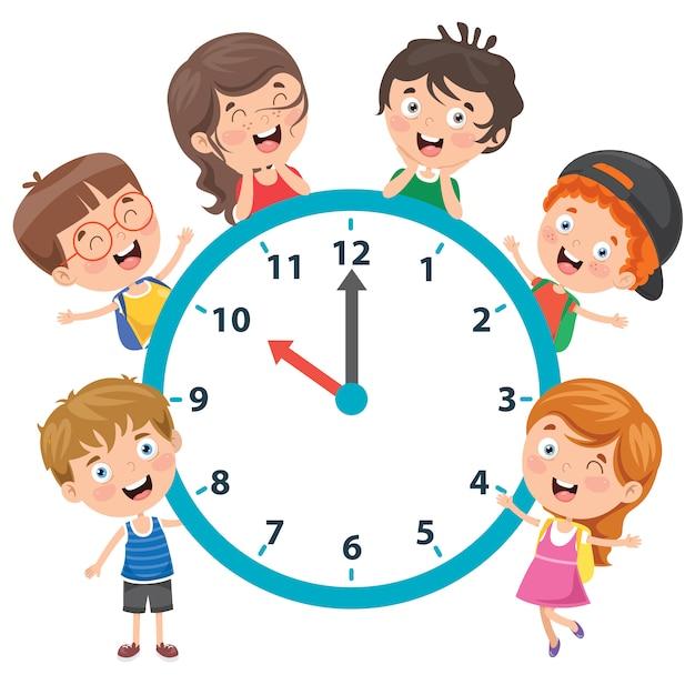 時計を保持している小さな子供たち Premiumベクター