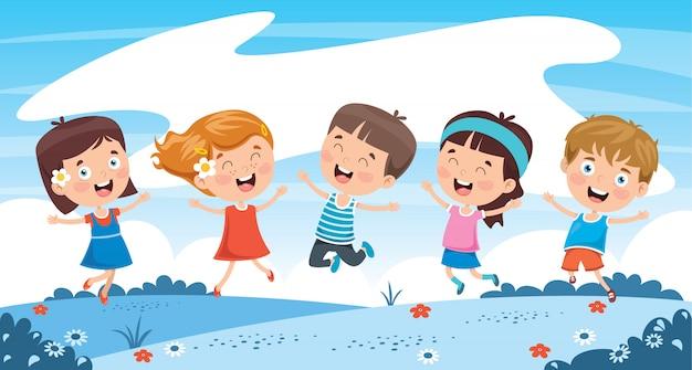 自然で遊ぶ小さな子供たち Premiumベクター