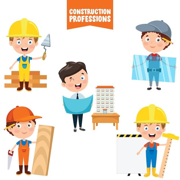 Герои мультфильмов строительных профессий Premium векторы