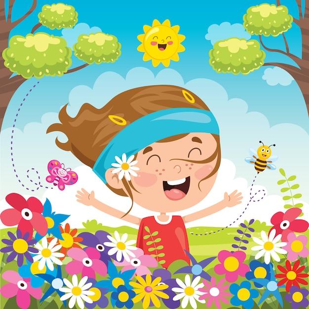 幸せな子供の日のためのカラフルなイラスト Premiumベクター