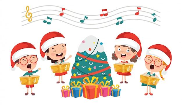 Смешные маленькие дети исполняют музыку Premium векторы