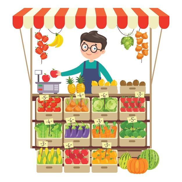 さまざまな果物や野菜を扱う食料品店 Premiumベクター