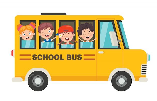 Счастливые дети и школьный автобус Premium векторы