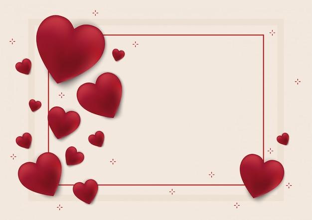 バレンタインデーの背景と愛の心 Premiumベクター