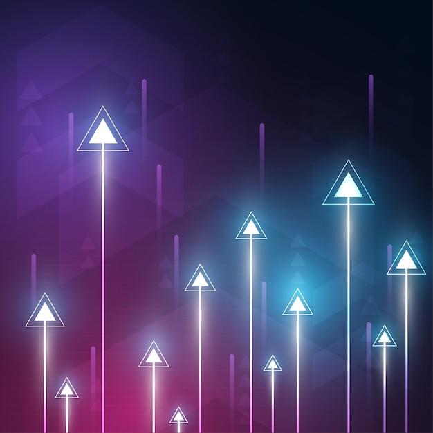 カラフルな背景を持つネオン矢印速度と技術データロードの概要 Premiumベクター