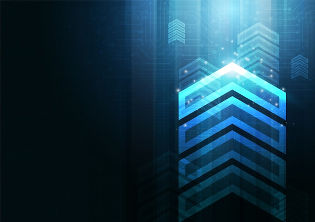 カラフルな背景のベクトルデザインとネオンの矢印の速度と技術データロードの概要 Premiumベクター