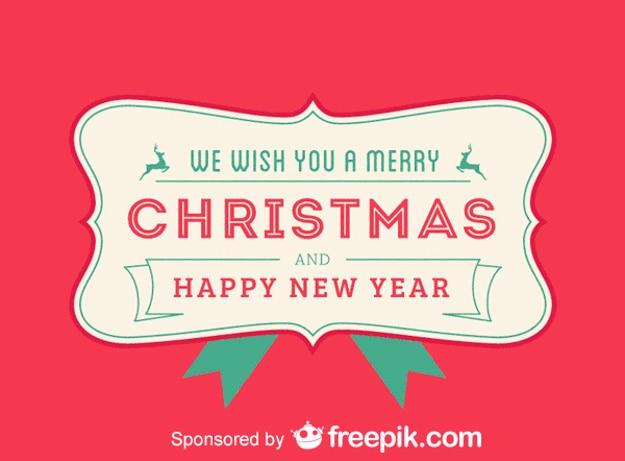メリークリスマスと私たちはあなたに幸せな新年赤い背景を望む 無料ベクター