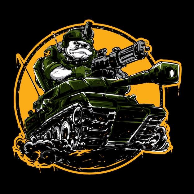 Бульдог за рулем танка Premium векторы