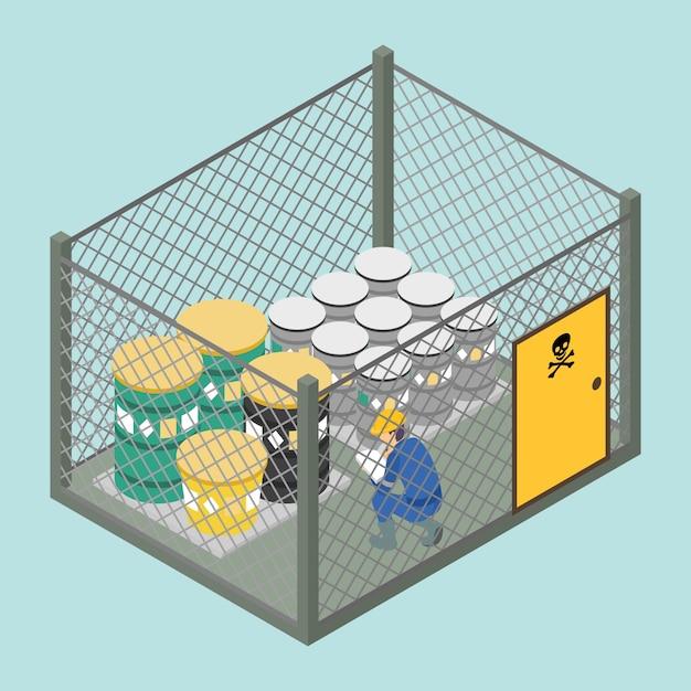 化学廃棄物の等尺性隔離エリア Premiumベクター