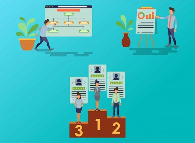 マーケティングスタッフの業務プロセスの流れ Premiumベクター