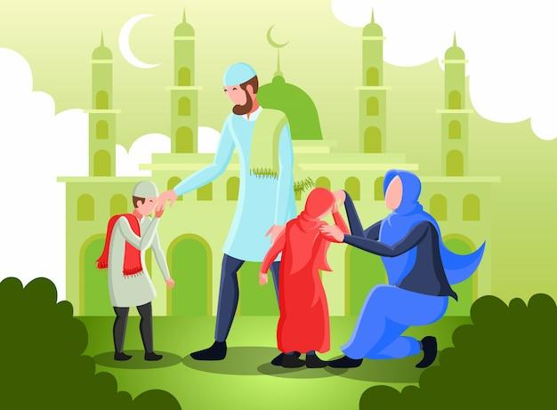 Плоская иллюстрация, представляющая родителей-мусульман, пожимающих друг другу руки за прощение в день ид мубарак Premium векторы