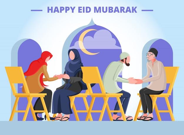 Плоский иллюстрация, представляющая мусульманина мужчины и женщины, пожимая руки с родителями для прощения в день ид мубарак Premium векторы