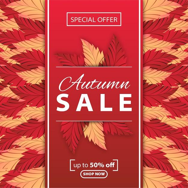 秋の販売の背景 Premiumベクター