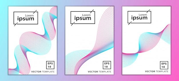 最小限のビジネスパンフレット表紙デザインのセット Premiumベクター