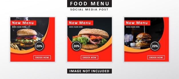 Еда меню баннера пост в социальных сетях Premium векторы