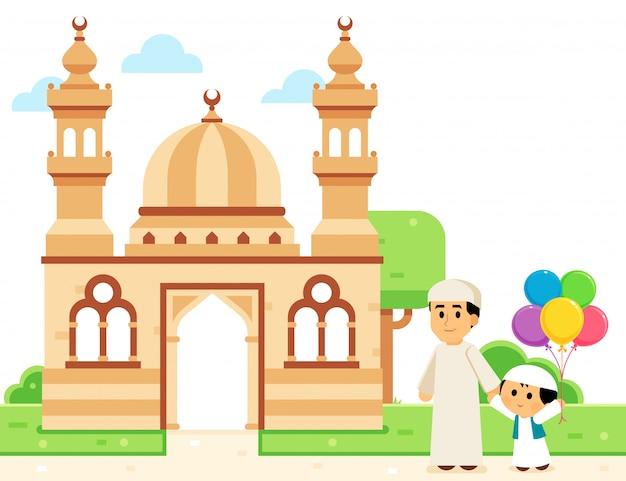 イスラム教徒の父と彼の息子はイードを祝うためにモスクに行きます Premiumベクター