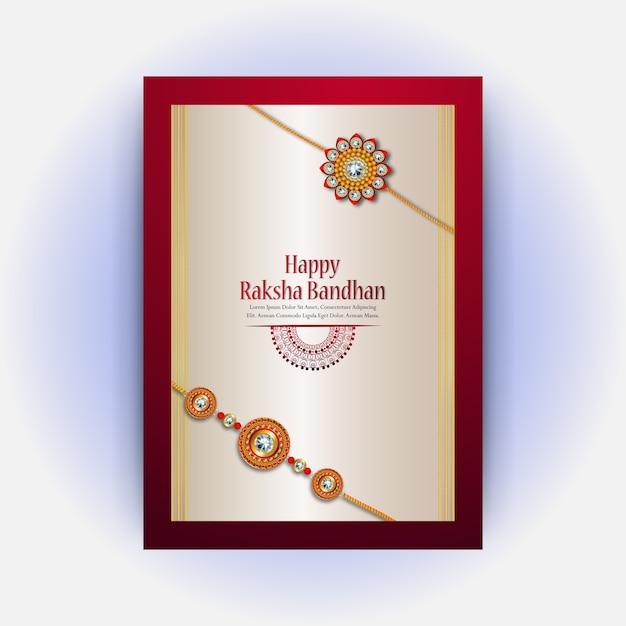 Ракша бандэн дизайн поздравительной открытки для счастливой ракши бандхан Premium векторы