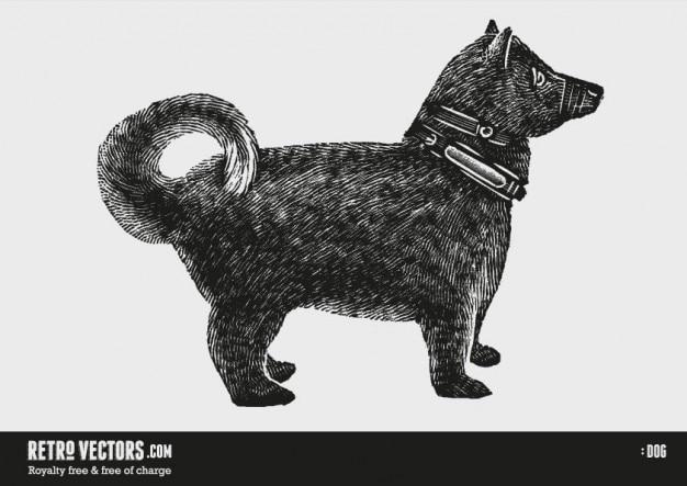 木版犬 無料ベクター