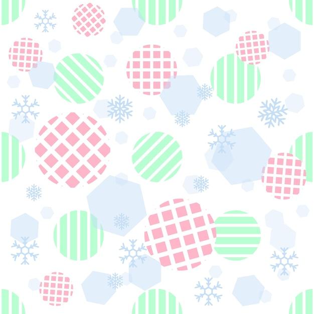 ストライプの背景に幾何学的および雪片パターンを持つシームレスなパステルストライプドット Premiumベクター
