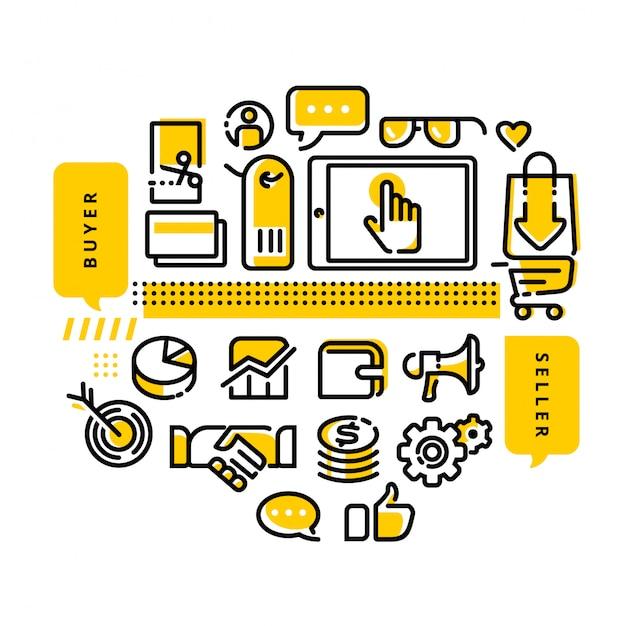 オンラインショップモダンラインデザインイラストレーション Premiumベクター