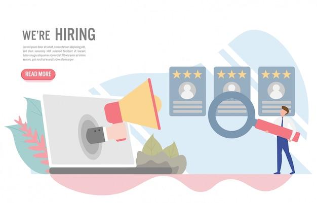 雇用と採用コンセプトの文字 Premiumベクター