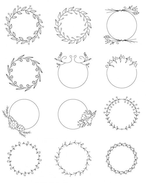 Набор рисованной цветочные круглые рамки Premium векторы