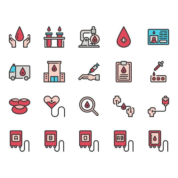 Набор иконок донорства крови Premium векторы