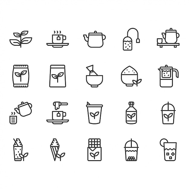 Зеленый чай значок набор Premium векторы