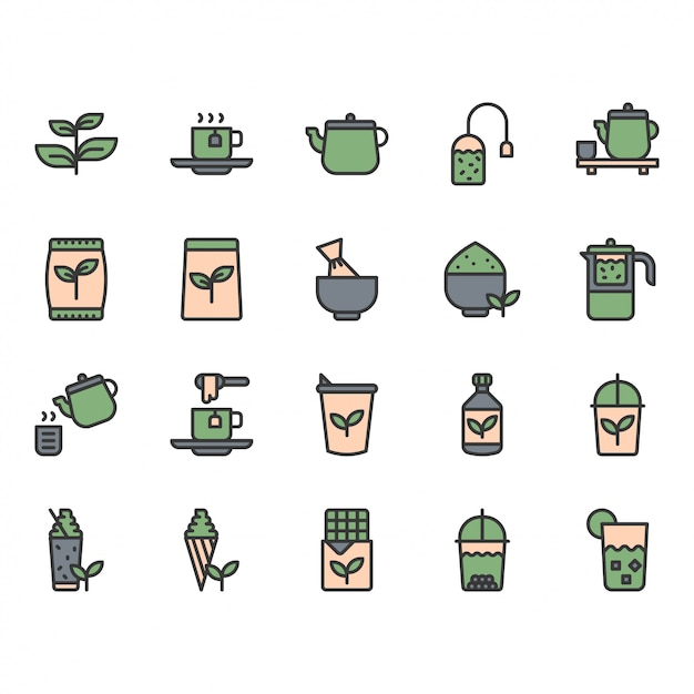 Зеленый чай значок и набор символов Premium векторы