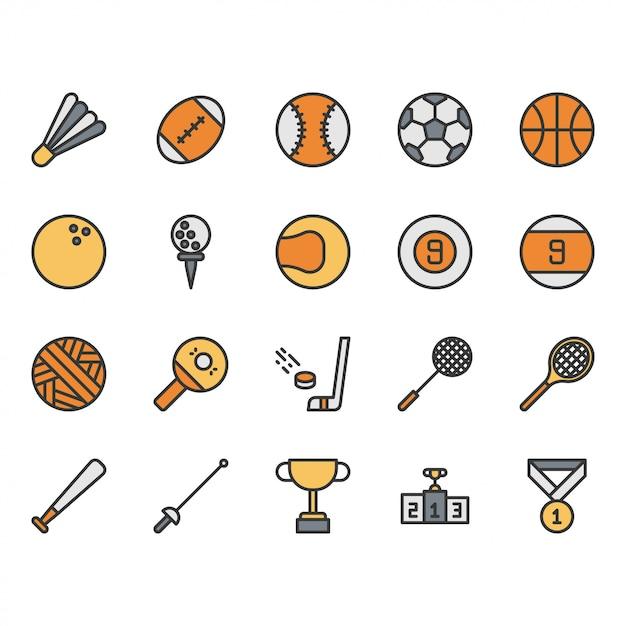 Спортивный мяч оборудование значок набор Premium векторы