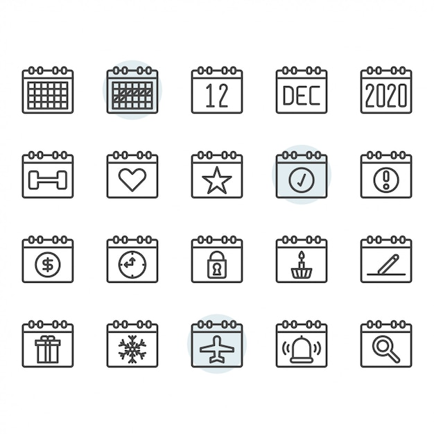 カレンダーのアイコンとシンボルの概要を設定 Premiumベクター