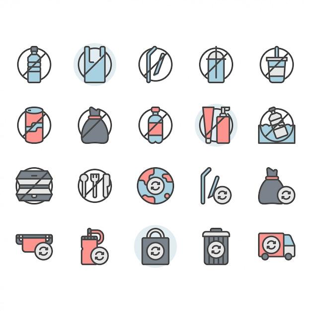 プラスチックコンセプト関連のアイコンとシンボルセットなし Premiumベクター