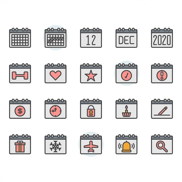 カレンダーアイコンとシンボルセット Premiumベクター