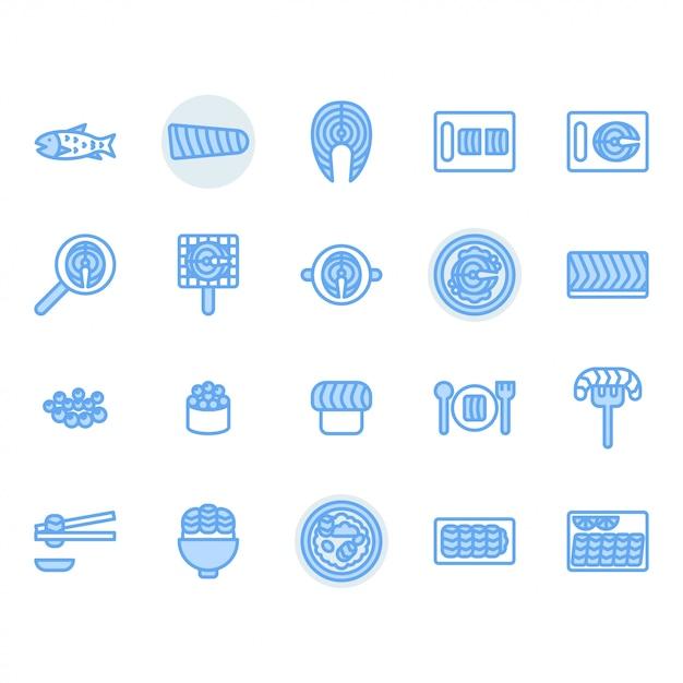 Лосось связанный набор иконок Premium векторы