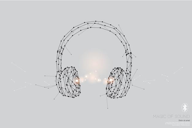 粒子、幾何学的芸術、ヘッドフォンの線と点。 Premiumベクター