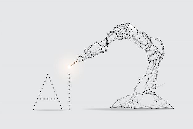 ロボットアームマシンの粒子、幾何学的な芸術、ラインとドット Premiumベクター