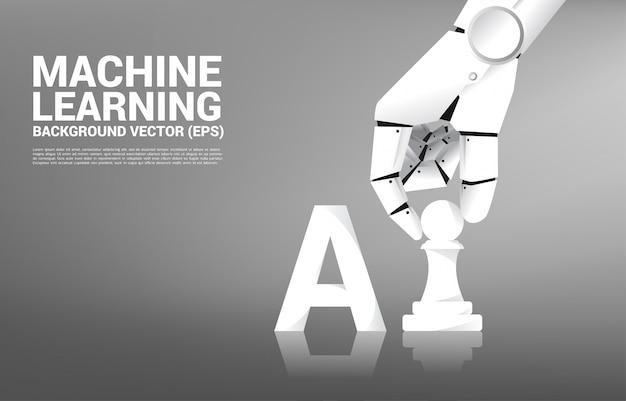 Рука робота переместить шахматную фигуру на настольную игру. Premium векторы