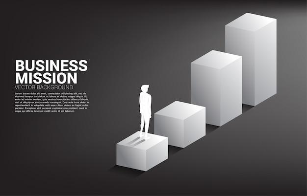 棒グラフの上に立っている実業家のシルエット。キャリアとビジネスのレベルを上げる準備ができている人々の概念。 Premiumベクター
