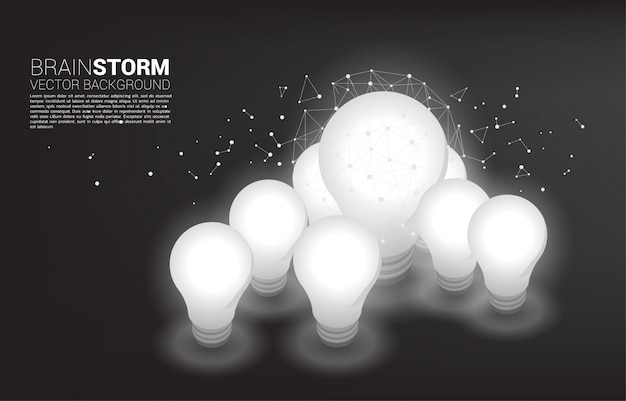 ドットで大小の電球のシルエット接続線ポリゴン Premiumベクター