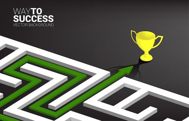 Стрелка с маршрутом пути к выходу из лабиринта в золотой трофей. решение бизнес-задач и стратегия решения Premium векторы